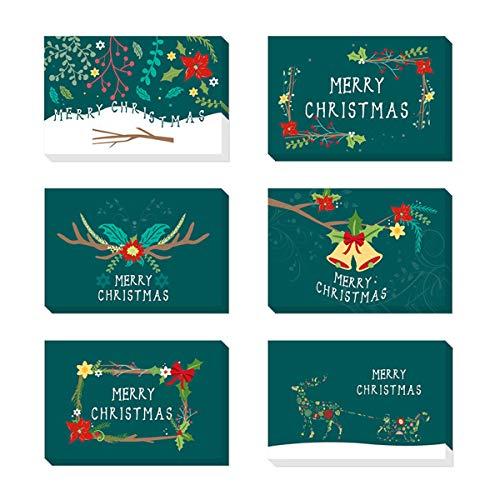 WIFIGDS 48pcs Merry Christmas Biglietti di Auguri Realizzati a Mano Cartolina di Auguri Xmas Kraft Carta con Buste per Natalizi - 5,9 x 3,9 Pollici
