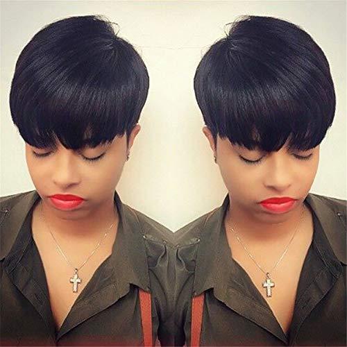 e Kurz Bob Pixie Cut Direkt Haar Perücken Zum Schwarz Frau Natürlich Haar Stil Synthetik Hitze Widerstand Faser 11
