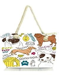 Snoogg I Love Dogs Vector Doodles Set Women Anchor Messenger Handbag Shoulder Bag Lady Tote Beach Bags Blue