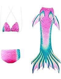 Surenhap Bikini Traje de Bano Cosplay Traje de Baño Brillente Glitter Sirena Shell Traje de Baño para Muchachas y Niña - (140CM?Rosa y Verde)