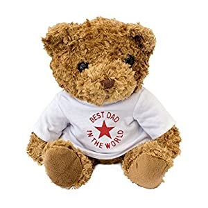 London Teddy Bears Oso de Peluche con Texto en inglés Best Dad in The World, Color Blanco