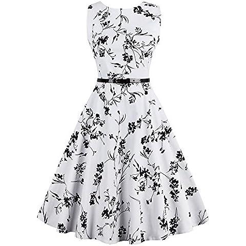 iShine Vestido sin Mangas de la Vendimia Falda Grande de Europa y América con una Correa de Impresión