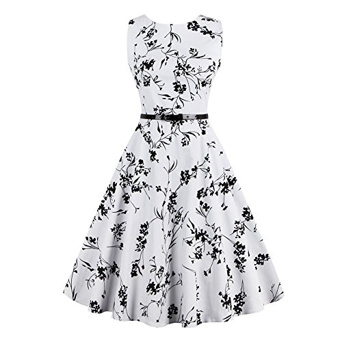 iShine Vestido sin Mangas de la Vendimia Falda Grande de Europa y América con una Correa de Impresión Sencilla