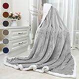 Awenia Flauschige Kuscheldecke 150x200cm Grau Decke mit super weiche Sherpawoll, Zweiseitige Flauschige Sofadecke, Leichte Mikrofaser Fleece Decke Überwurf für Sofa und Couch
