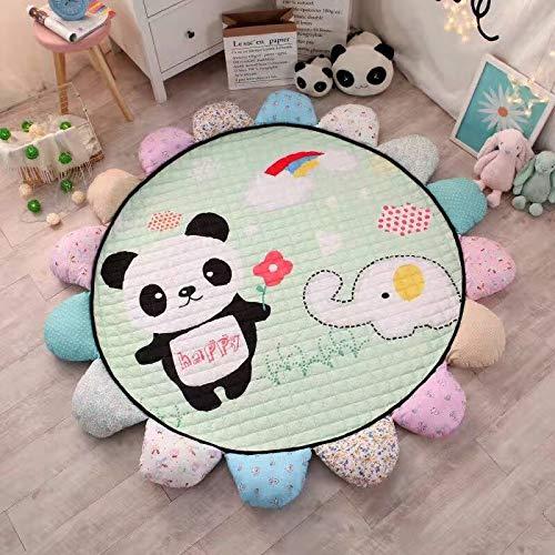 Lijia Kinder Spielmatte Baby Crawl Pad Wohnzimmer Schlafzimmer Verdickt Runde Sonne Blumenmatte Zelt Dekoriert Teppich, um Stürze Innendurchmesser 150cm Panda zu Verhindern