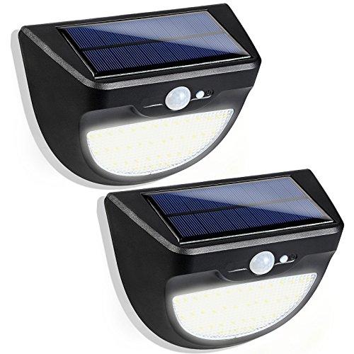 GreenSun LED Lighting 3 Modi Solarlampe LED Solarleuchten mit Bewegungsmelder 37 Leds Wasserdichte Solarbetriebene Leuchte Solarlicht für Garten, Balkon, Lager, Außenwand, Schwarz (2 Pack)
