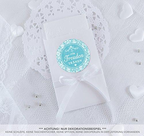 SET GROß: 48 Freudentränen Sticker + 48 weiße Flachbeutel - 63 x 93 mm für Freudentränen Taschentuch Verpackungen • Aufkleber mit Ornamenten im Vintage Shabby Chic Look in TÜRKIS • 4cm, rund, matt