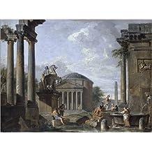 Alu Dibond 40 x 30 cm: Landscape with Roman Ruins de Giovanni Paolo Pannini / Bridgeman Images
