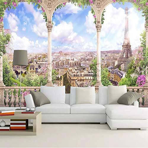 VVBIHUAING 3D Aufkleber Wand Dekorationen Wandbilder Tapete Shizhu Paris Landschaft Dekoration Home Wohnzimmer Hintergrund Landschaft Kunst Kinderküche (W) 250x(H) 175cm - Paris-wand-aufkleber