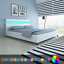 Festnight Cadres de lit Lit en Bois avec LED 160 x 200 cm Cuir Artificiel  Blanc 850a883cc632