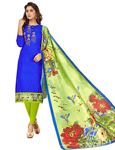 Priyavadhu Women's Slub Cotton straight Unstitched Salwar kameez Dress material (BLMHR1010_Royal Blue_Free...