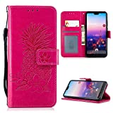 iAdvantec Huawei P20 Hülle, Filp PU Leder Case Wallet Handyhülle Flipcase : Bookstyle Ananas Tasche Schutzhülle in Rose Rot