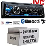 Mercedes A-Klasse W168 - JVC KD-X341BT - Bluetooth | MP3 | USB | Android | iPhone Autoradio - Einbauset