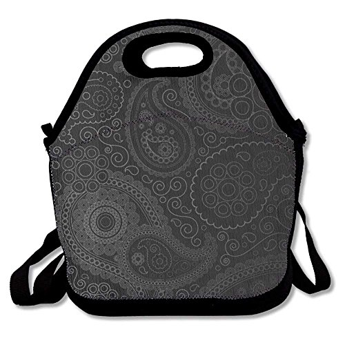 Black Floral Paisley Lunch Handbag Lunchbox Tote Bags Insulated Cooler Warm Pouch With Shoulder Strap For Women Girls Kids Adults Teens - Floral Drawstring Shoulder Bag