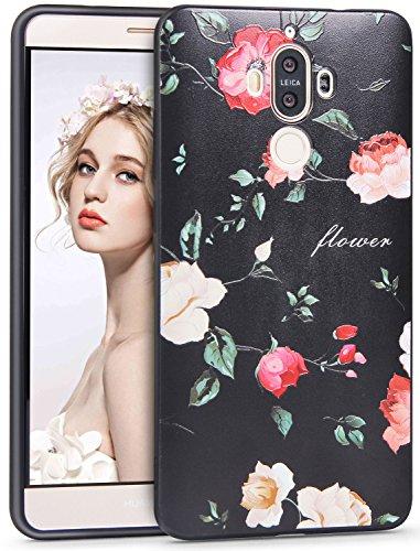 Imikoko Mate 9 Hülle, 3D Elegant Blumen Blumenmuster Retro Floral Malerei Series Beauty Protective Schützend Stoßfest Anti Staub Kratzer Soft Weich TPU Handyhülle Case Back Cover für Huawei Mate 9