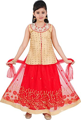 Saarah Girls Ethnic Wear Red Color Self Design Lehenga, Choli and Dupatta...