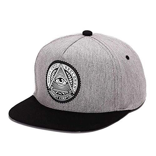 GAOXUQIANG 3D God Eyes Kunststoff Patch Herren Flat Brim Baseball Cap Hip Hop Hut,Gray,L (Flat Eye Patch)