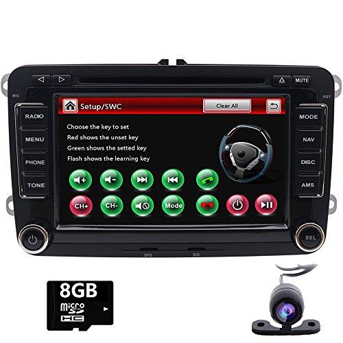 Foiioe unité de tête stéréo de Voiture pour VW Jetta Passat Touran Polo avec GPS Bluetooth Support CD DVD GPS USB SD AUX Caméra de recul iPod (Carte de 8Go Gratuit Inclus + Gratuit Camera)