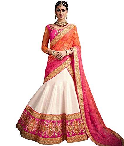 Indian Ethnicwear Bollywood Pakistani Wedding White And Pink A-Line Lehenga Semi-stitched