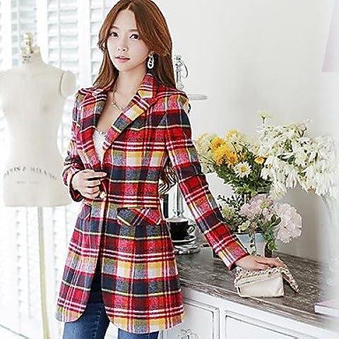 PU&PU moda plaid delle dabuwawa donne cappotto di lana sottile , red , m