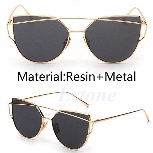 amazzang-women Gläsern Metall flach Objektiv Vintage Fashion Oversized Sonnenbrille, verspiegelt, gold