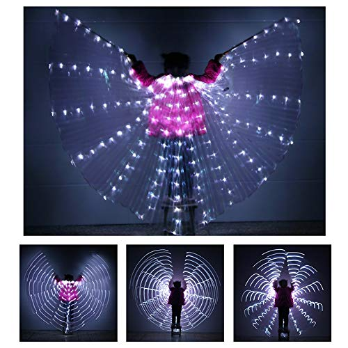 Kinder LED Isis Wings Performance Dance Zubehör Mit 2 Teleskop-Sticks 360 Grad Für Cosplay Performance Dancing Supplies Requisiten,White