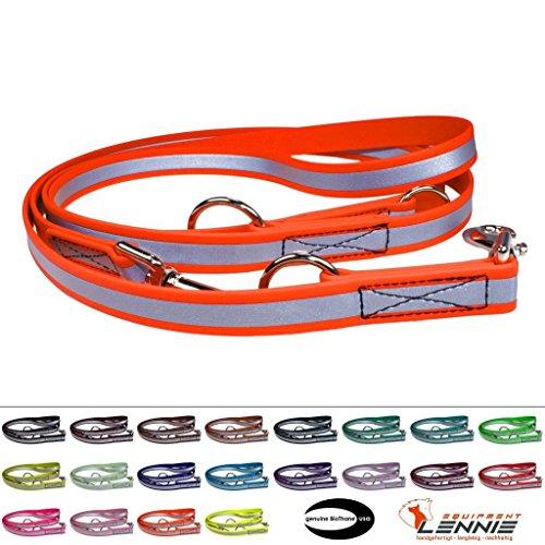 Mehrfach verstellbare Führleine aus 19 mm breiter Reflex-BioThane® / 1,75 - 5 Meter [5 m] / 20 Farben [Neon-Orange-Reflex] / genäht