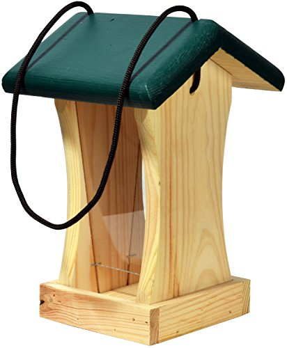 dobar 90061FSCe Futterspender Vogelhaus aus Holz für Wildvögel, 16 x 16 x 24 cm, grün