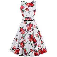 iShine Moda Vestido sin Mangas de la Vendimia Falda Grande de Europa y América con una Correa de Impresión Sencilla Rojo