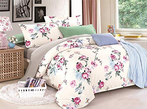 BMLANS Vierteiliges Bett Vier Sätze von Bettwäsche für Pflanzen Blumen gesetzt Bettbezug Tröster Bettwäsche-Sets, König, 220 * 240cm -