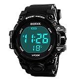 Longra Hommes Luxe Analogique numérique Militaire Armée LED de sport Imperméable Montre-bracelet LED Digitale Analogique Montres Digital montres Montre en métal montre pour bracelet (Noir, One size)