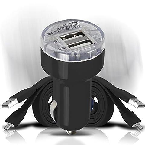 Kyocera Brigadier, Kyocera Duraforce, Kyocera Duraforce Pro Chargeur de voiture Set - Black 12v en chargeur de voiture mini bullet USB double port + 2x plat Micro USB câble de téléphone portable Smartphone chargeur données Sync câble de charge pour votre mobile