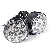 Sonline 2x 9 LED Travail Lampe Ampoule Ronde Feux Jour Phare Diurne Anti-brouillard AUTO Blanc