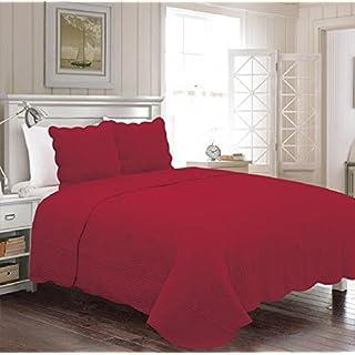 Alpes Blanc Tagesdecke, Tagesdecke, Einfarbig, 230 x 250 cm, 100% Baumwolle für Doppelbett, Bettüberwurf 2 Personen, Steppung Bordeaux