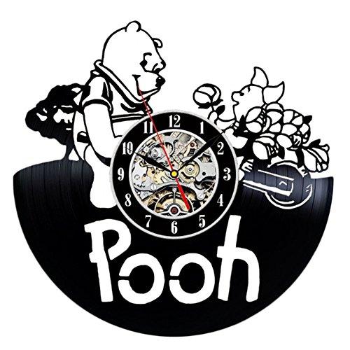 Meet Beauty Lotos Wanduhr, Vinyl, Record Art Winnie The Pooh, Dekorativ, mit Geschenkanhänger, für Kinder und Halloween (Pooh Winnie Halloween-musik)