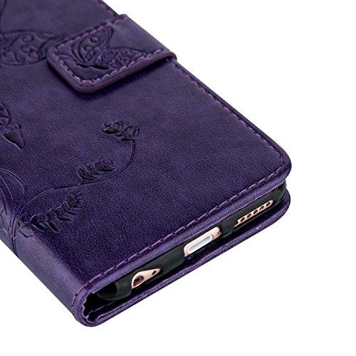 iPhone 5S Hülle,iPhone SE Tasche Case,iPhone 5 Cover - Felfy Bookstyle Ledertasche Luxus Premium Flip Folio PU Leder Taschen Schöne Panda Kreative übersichtliches Design Geprägte Fantasie Fliegen Fall Lila Hülle