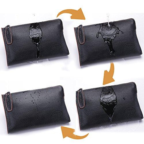Teemzone Multi-Tasche Handgelenktasche Herren Clutch Rindleder mit Trageschlaufe Portemonnaie Damen Groß(Schwarz Klein) Schwarz Klein