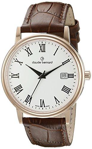 Claude Bernard Men's 53007 37R BR Classic Gents Analog Display Swiss Quartz Brown Watch