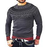 Sannysis Strickpullover Herren Sweater Sweatshirt Pulli Herbst Winter Solide O Neck Pullover Print Gestrickte Truteneck Strickwaren Tops
