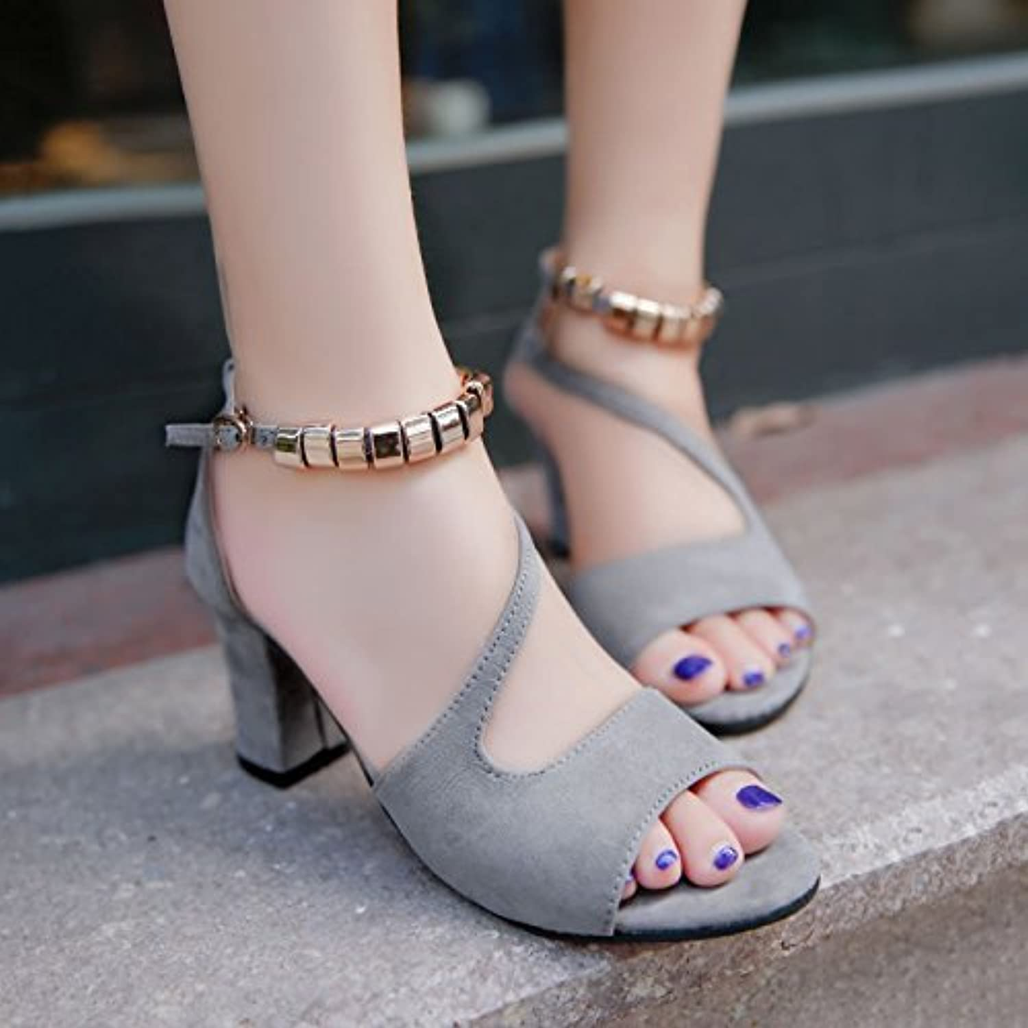 52ba2b86c67a SHOESHAOGE SHOESHAOGE SHOESHAOGE Slotted Strap Sandals Female Rough With  Students Dew-Toe High-Heeled Roman Women Shoes B07BGY3JLT Parent fe63a0