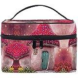 Kosmetiktasche Art Pink Mushroom Hometown Makeup Bag für Frauen Kosmetiktasche Toiletry Train Case