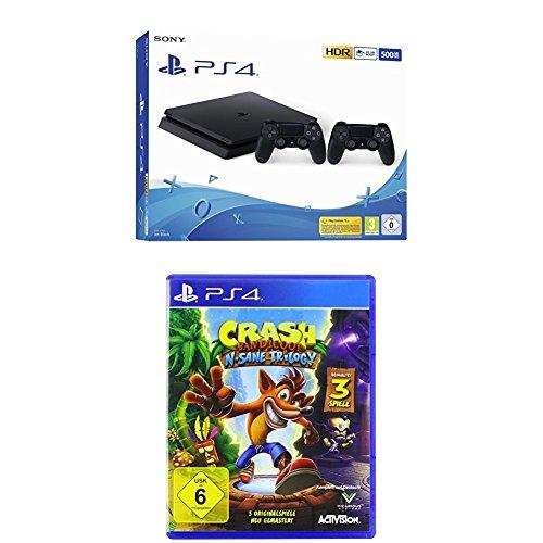 PlayStation 4 - Konsole (500GB, schwarz, E-Chassis) inkl. 2. DualShock Controller + Crash Bandicoot N.Sane Trilogy - [PlayStation 4]