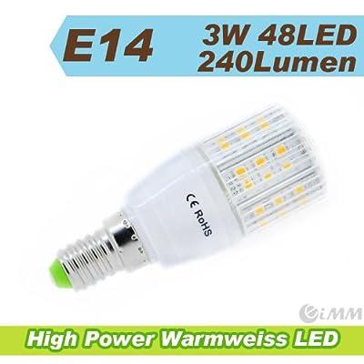 3W 48LEDs E14 LED Lampe Light Leuchtmittel Strahler Mais plus Blende warmweiss 240Lumen von EiMM GmbH auf Lampenhans.de