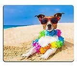 Liili alfombrilla de ratón alfombrilla de ratón de goma natural imagen ID: 32316526perro en la playa con una cadena de flores en el océano orilla con gafas de sol