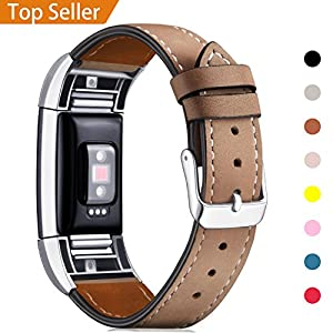 For Fitbit Charge 2 Band Leather Strap, Mornex Classic Adjustable Replacement Wristband for Fitbit Charge 2 Fitness Accessories With Metal Connectors,Light Brown