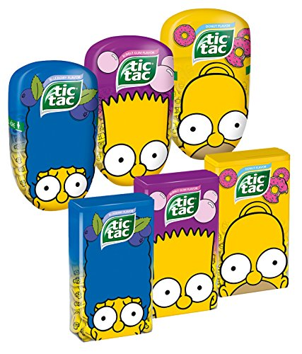 tic-tac-maxi-pack-simpsons-edition-donut-bubble-gum-und-blueberry-komplettset-mit-allen-6-packs-1er-