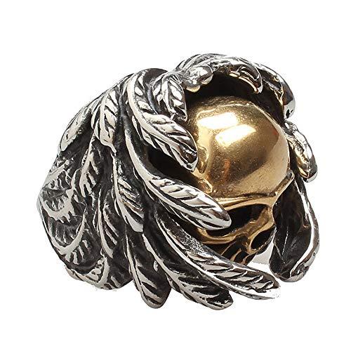 AZUO Unisex Edelstahl Ring Punk Gothic Gold Skull Wing Titanium Steel Casting Men Ring (Größe 7 bis 12),No.9 -