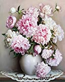 QJHXD Frameless Familienkunst der Malerei der Pfingstrosenblume, die das Digitale Toolbox färbt Ölgemälde Malt 40x50c