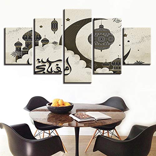 XLST Segeltuch HD-Drucke 5 Stücke Islam Allah Der Koran Malerei Wandkunst Muslim Ramadan Poster Bilder Wohnzimmer Wohnkultur,A,30X50X230X70X230X80X1