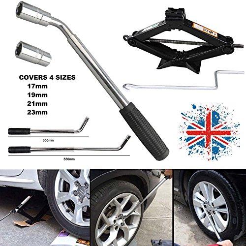 télescopique extensible pour roue de voiture van Clé 17 19 21 et 23 mm + ciseaux Jack 2ton Heavy Duty avec poignée, UK Stock